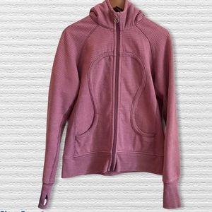 Lululemon Pink/Mauve Stripe Scuba Hoodie Women's L